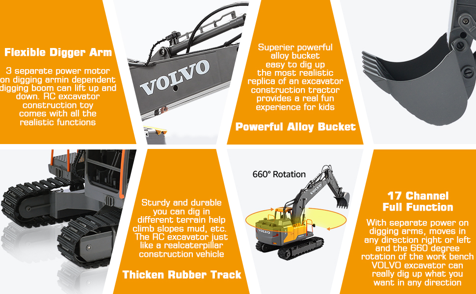 071c930b 40b9 44e5 9f6b d4a0bbe637af.  CR0,0,970,600 PT0 SX970 V1    - VOLVO RC Excavator Metal Shovel Remote Control Excavator 17 Channel 1/16 Scale with 2 Batteries Rc Toy Construction Truck 2.4Ghz Tractor Vehicles Toy with Lights and Sounds for Kids