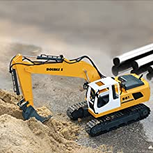 0b434fb7 ec1a 4bae b704 1de386d77f17.  CR0,0,300,300 PT0 SX220 V1    - DOUBLE E Remote Control Truck RC Excavator Toy 17 Channel 3 in 1 Claw Drill Metal Shovel Real Hydraulic Electric RC Construction Vehicle with Working Lights (Yellow)