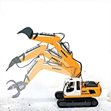 3410f719 0b26 4802 889e 024a2de69bd0.  CR0,0,300,300 PT0 SX220 V1    - DOUBLE E Remote Control Truck RC Excavator Toy 17 Channel 3 in 1 Claw Drill Metal Shovel Real Hydraulic Electric RC Construction Vehicle with Working Lights (Yellow)