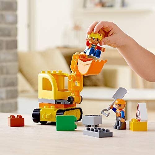 41+lfJlmN2L. AC  - LEGO DUPLO Town Truck & Tracked Excavator 10812 Dump Truck and Excavator Kids Construction Toy with DUPLO Construction Worker Figures (26 Pieces)