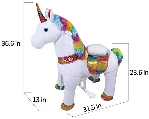41iIjD1hgHL. AC  - WondeRides Ride on Unicorn Plush Horse Toy Walking Animal Giddy up Pony Mechanical Riding Horse with Wheels for Age 3-8
