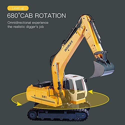 51 VgeAAanL. AC  - DOUBLE E Remote Control Truck RC Excavator Toy 17 Channel 3 in 1 Claw Drill Metal Shovel Real Hydraulic Electric RC Construction Vehicle with Working Lights (Yellow)