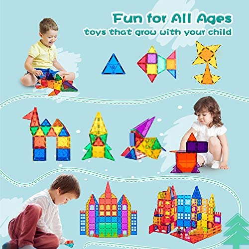 51 oReSUjKL. AC  - Compatible Magnetic Tiles Building Blocks STEM Toys for 3+ Year Old Boys and Girls Learning by Playing Montessori Toys Toddler Kids Activities Games - 102pcs Advanced Set