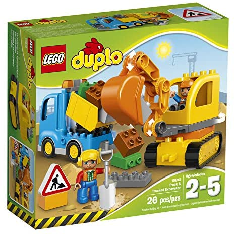 511SxIvC FL. AC  - LEGO DUPLO Town Truck & Tracked Excavator 10812 Dump Truck and Excavator Kids Construction Toy with DUPLO Construction Worker Figures (26 Pieces)
