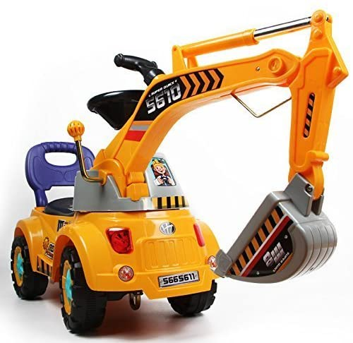 517uUTZW4WL. AC  - Digger Scooter, Ride-on Excavator, Pulling cart, Pretend Play Construction Truck (Color May Vary) by POCO DIVO