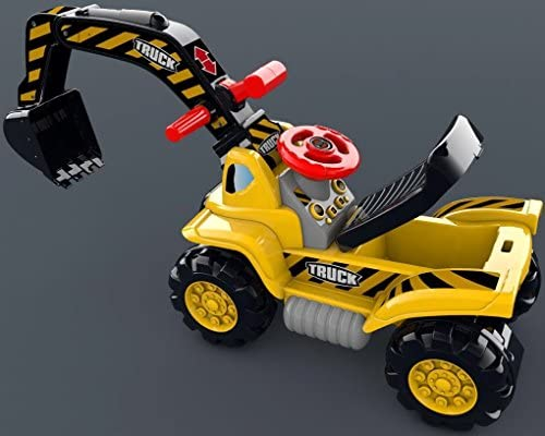 51AuFQkwSZL. AC  - Play22 Toy Tractors for Kids Ride On Excavator - Music Sounds Digger Scooter Tractor Toys Bulldozer Includes Helmet with Rocks - Ride on Tractor Pretend Play - Toddler Tractor Construction Truck
