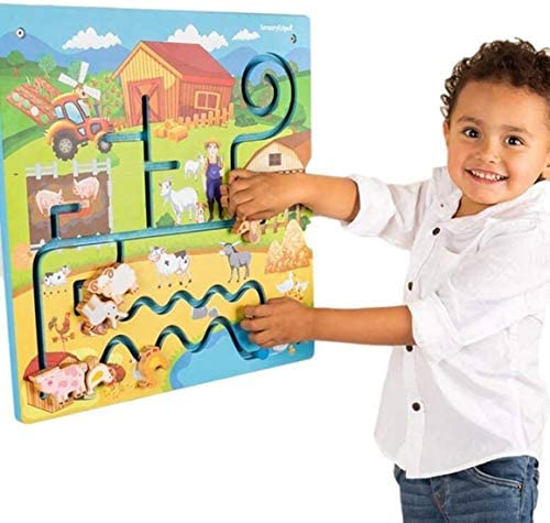 51Ca2 dOZCL. AC  - Wall Toys for Toddlers – On The Farm Wall Activity Center – Sensory Wall for Fine Motor Skills and Hand-Eye Coordination - Mounted Wall Decor for Kids Rooms or Doctors Office - Gift for Boys & Girls