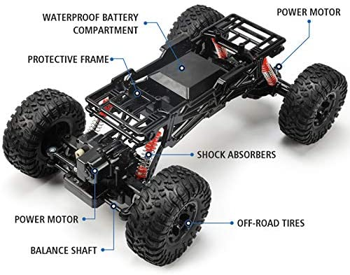 51Cecp9BNXL. AC  - Bwine C11 1:10 Scale RC Car, Amphibious Remote Control Car for Boys Age 8-12, 4WD Waterproof Monster Truck, Rock Crawler Vehicle for Kids and Adults, 2 Batteries for 40+ Min Play
