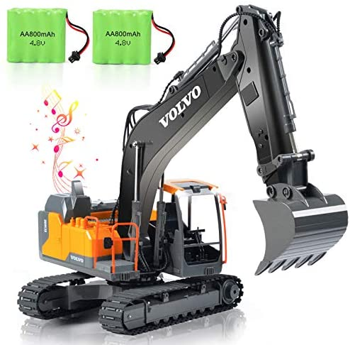 51F9SZar1 L. AC  - VOLVO RC Excavator Metal Shovel Remote Control Excavator 17 Channel 1/16 Scale with 2 Batteries Rc Toy Construction Truck 2.4Ghz Tractor Vehicles Toy with Lights and Sounds for Kids