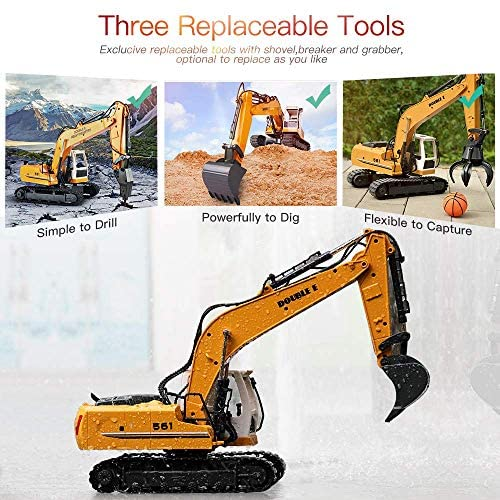 51GKciPCwJL. AC  - DOUBLE E Remote Control Truck RC Excavator Toy 17 Channel 3 in 1 Claw Drill Metal Shovel Real Hydraulic Electric RC Construction Vehicle with Working Lights (Yellow)