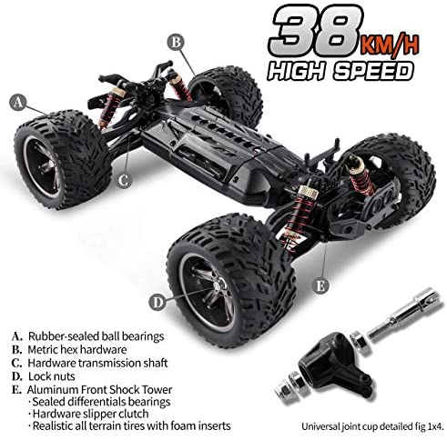 51Gnhg1cd7L. AC  - BEZGAR 8 Hobbyist Grade 1:12 Scale Remote Control Truck, 2WD High Speed 38 Km/h All Terrains Electric Toy Off Road RC Monster Vehicle Car Crawler with 2 Rechargeable Batteries