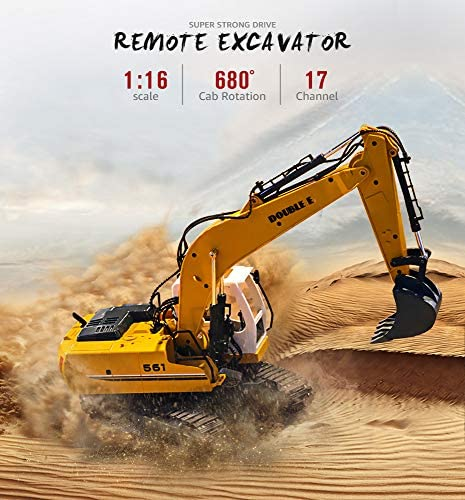 51IU9w3d3GL. AC  - DOUBLE E Remote Control Truck RC Excavator Toy 17 Channel 3 in 1 Claw Drill Metal Shovel Real Hydraulic Electric RC Construction Vehicle with Working Lights (Yellow)