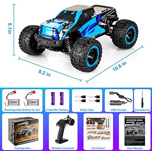 51JFU82AMtL. AC  - PHYWESS RC Cars Remote Control Car for Boys 2.4 GHZ High Speed Racing Car, 1:16 RC Trucks 4x4 Offroad with Headlights, Electric Rock Crawler Toy Car Gift for Kids Adults Girls