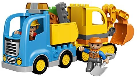 51LRhG55QXL. AC  - LEGO DUPLO Town Truck & Tracked Excavator 10812 Dump Truck and Excavator Kids Construction Toy with DUPLO Construction Worker Figures (26 Pieces)