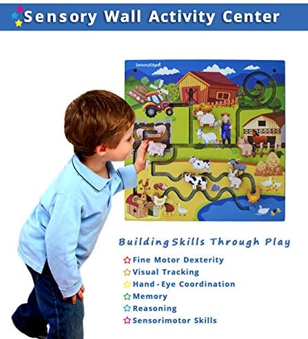 51O3pDJJRBL. AC  - Wall Toys for Toddlers – On The Farm Wall Activity Center – Sensory Wall for Fine Motor Skills and Hand-Eye Coordination - Mounted Wall Decor for Kids Rooms or Doctors Office - Gift for Boys & Girls