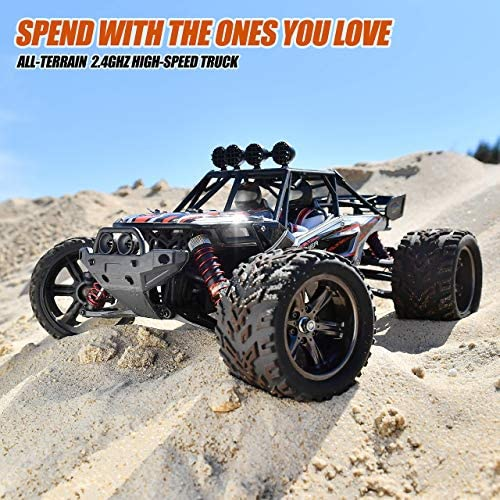 51PmrwB7qmL. AC  - BEZGAR 8 Hobbyist Grade 1:12 Scale Remote Control Truck, 2WD High Speed 38 Km/h All Terrains Electric Toy Off Road RC Monster Vehicle Car Crawler with 2 Rechargeable Batteries