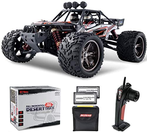 51PqF1kyRGL. AC  - BEZGAR 8 Hobbyist Grade 1:12 Scale Remote Control Truck, 2WD High Speed 38 Km/h All Terrains Electric Toy Off Road RC Monster Vehicle Car Crawler with 2 Rechargeable Batteries