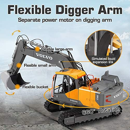 51Rz1uxW3bL. AC  - VOLVO RC Excavator Metal Shovel Remote Control Excavator 17 Channel 1/16 Scale with 2 Batteries Rc Toy Construction Truck 2.4Ghz Tractor Vehicles Toy with Lights and Sounds for Kids