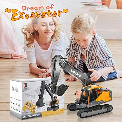 51Vin28ugvL. AC  - VOLVO RC Excavator Metal Shovel Remote Control Excavator 17 Channel 1/16 Scale with 2 Batteries Rc Toy Construction Truck 2.4Ghz Tractor Vehicles Toy with Lights and Sounds for Kids