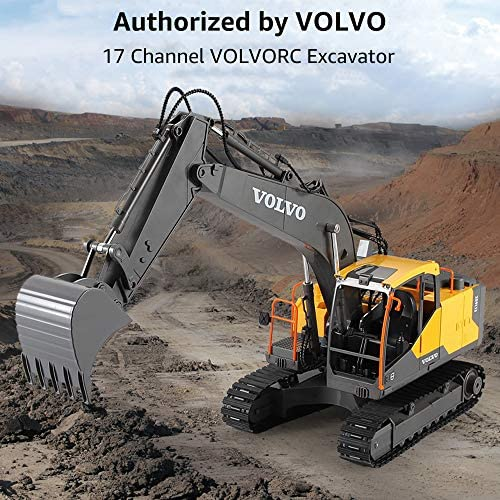51Vzom3nChL. AC  - VOLVO RC Excavator Metal Shovel Remote Control Excavator 17 Channel 1/16 Scale with 2 Batteries Rc Toy Construction Truck 2.4Ghz Tractor Vehicles Toy with Lights and Sounds for Kids