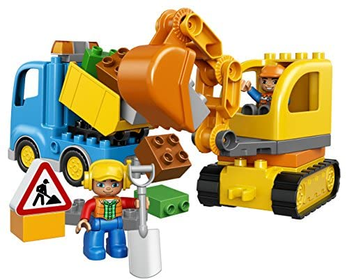 51a+B2hXlyL. AC  - LEGO DUPLO Town Truck & Tracked Excavator 10812 Dump Truck and Excavator Kids Construction Toy with DUPLO Construction Worker Figures (26 Pieces)