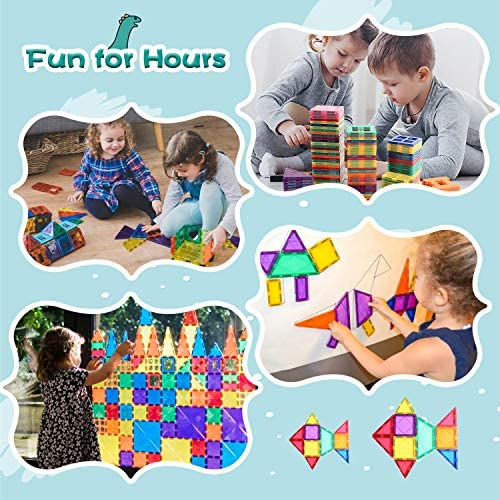 51bfnpvaBNL. AC  - Compatible Magnetic Tiles Building Blocks STEM Toys for 3+ Year Old Boys and Girls Learning by Playing Montessori Toys Toddler Kids Activities Games - 102pcs Advanced Set