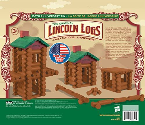51dma9xm2+L. AC  - LINCOLN LOGS –100th Anniversary Tin-111 Pieces-Real Wood Logs-Ages 3+ - Best Retro Building Gift Set for Boys/Girls - Creative Construction Engineering – Top Blocks Game Kit - Preschool Education Toy