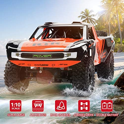 51fuK2akX3L. AC  - Bwine C11 1:10 Scale RC Car, Amphibious Remote Control Car for Boys Age 8-12, 4WD Waterproof Monster Truck, Rock Crawler Vehicle for Kids and Adults, 2 Batteries for 40+ Min Play