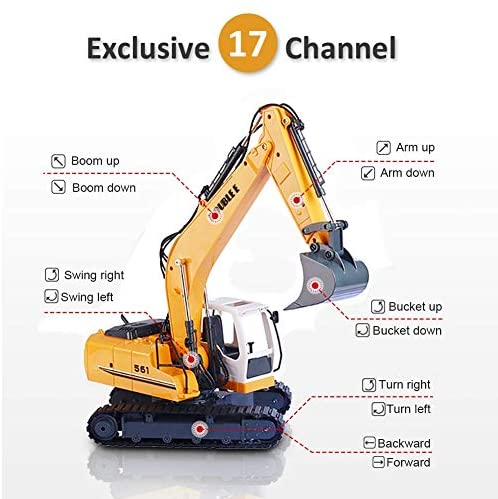 51gDXye5SBL. AC  - DOUBLE E Remote Control Truck RC Excavator Toy 17 Channel 3 in 1 Claw Drill Metal Shovel Real Hydraulic Electric RC Construction Vehicle with Working Lights (Yellow)