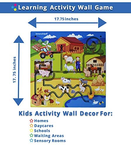 51mppoO79DL. AC  - Wall Toys for Toddlers – On The Farm Wall Activity Center – Sensory Wall for Fine Motor Skills and Hand-Eye Coordination - Mounted Wall Decor for Kids Rooms or Doctors Office - Gift for Boys & Girls