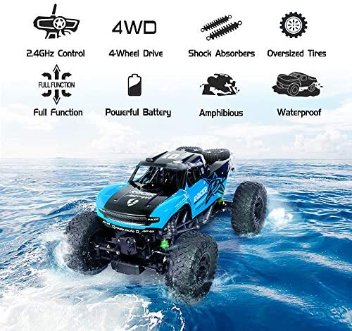 51nLFX eyEL. AC  - WQ Amphibious RC Car Toy Remote Control Car Boat, Super Load-Bearing 4WD Off Road Racing Car, 1:12 Scale RC Truck - All Terrain Waterproof Toys Trucks for Kids and Adult