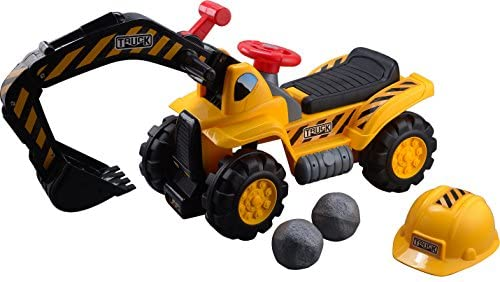 51nOeeWSicL. AC  - Play22 Toy Tractors for Kids Ride On Excavator - Music Sounds Digger Scooter Tractor Toys Bulldozer Includes Helmet with Rocks - Ride on Tractor Pretend Play - Toddler Tractor Construction Truck
