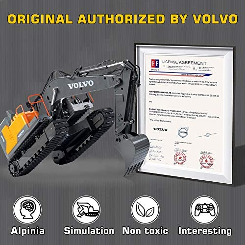 51q0hiuYXhL. AC  - VOLVO RC Excavator Metal Shovel Remote Control Excavator 17 Channel 1/16 Scale with 2 Batteries Rc Toy Construction Truck 2.4Ghz Tractor Vehicles Toy with Lights and Sounds for Kids