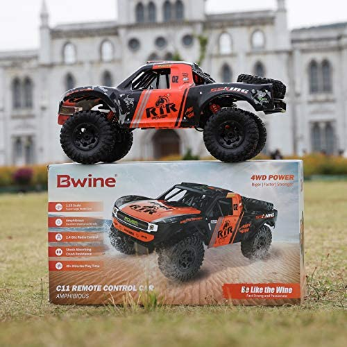 51qLa 6cveL. AC  - Bwine C11 1:10 Scale RC Car, Amphibious Remote Control Car for Boys Age 8-12, 4WD Waterproof Monster Truck, Rock Crawler Vehicle for Kids and Adults, 2 Batteries for 40+ Min Play