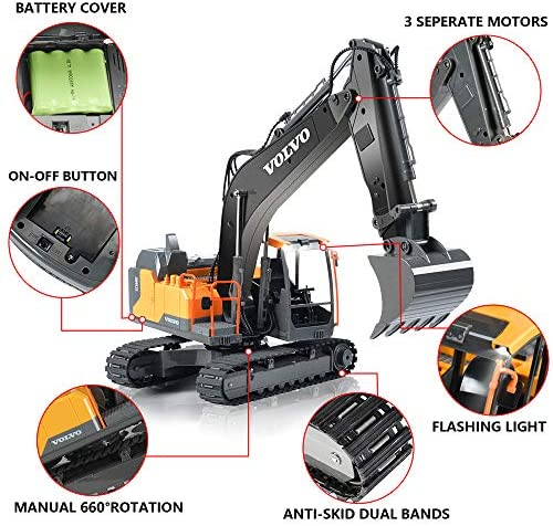 51shYn4EUBL. AC  - VOLVO RC Excavator Metal Shovel Remote Control Excavator 17 Channel 1/16 Scale with 2 Batteries Rc Toy Construction Truck 2.4Ghz Tractor Vehicles Toy with Lights and Sounds for Kids