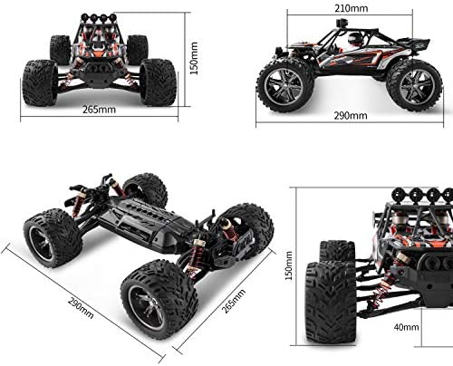 51uO8twMV0L. AC  - BEZGAR 8 Hobbyist Grade 1:12 Scale Remote Control Truck, 2WD High Speed 38 Km/h All Terrains Electric Toy Off Road RC Monster Vehicle Car Crawler with 2 Rechargeable Batteries
