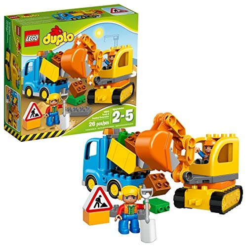 51xJLNVxOXL. AC  - LEGO DUPLO Town Truck & Tracked Excavator 10812 Dump Truck and Excavator Kids Construction Toy with DUPLO Construction Worker Figures (26 Pieces)