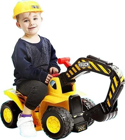 51xN ks+yFL. AC  - Play22 Toy Tractors for Kids Ride On Excavator - Music Sounds Digger Scooter Tractor Toys Bulldozer Includes Helmet with Rocks - Ride on Tractor Pretend Play - Toddler Tractor Construction Truck
