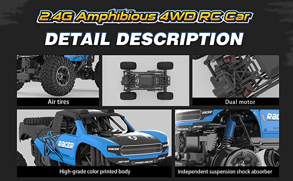 5d44ee65 65be 4fb1 911c 7ec2e6c636f0.  CR0,0,1940,1200 PT0 SX970 V1    - WQ Amphibious RC Car Toy Remote Control Car Boat, Super Load-Bearing 4WD Off Road Racing Car, 1:12 Scale RC Truck - All Terrain Waterproof Toys Trucks for Kids and Adult