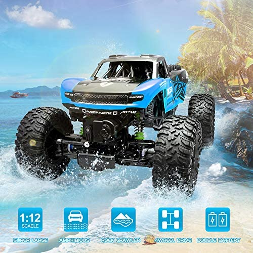 61GNUloRxcL. AC  - WQ Amphibious RC Car Toy Remote Control Car Boat, Super Load-Bearing 4WD Off Road Racing Car, 1:12 Scale RC Truck - All Terrain Waterproof Toys Trucks for Kids and Adult