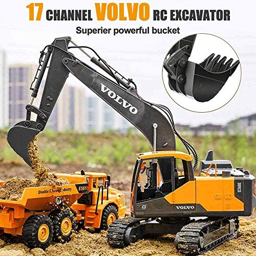 61HZSIFc3kL. AC  - VOLVO RC Excavator Metal Shovel Remote Control Excavator 17 Channel 1/16 Scale with 2 Batteries Rc Toy Construction Truck 2.4Ghz Tractor Vehicles Toy with Lights and Sounds for Kids