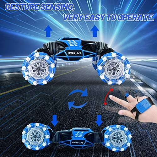 61U5+ynpmRL. AC  - Remote Control Car , RC Cars 4WD Double Sided Driving, 2.4GHz Gesture Sensing RC Trucks, Remote Control Crawler, Climbing, Flipping, Spinning, Drifting, Christmas Gift Package for Kids and Adults