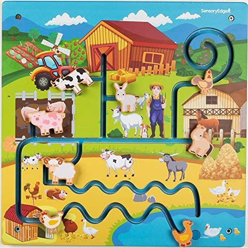 61ewMn1CtsL. AC  - Wall Toys for Toddlers – On The Farm Wall Activity Center – Sensory Wall for Fine Motor Skills and Hand-Eye Coordination - Mounted Wall Decor for Kids Rooms or Doctors Office - Gift for Boys & Girls