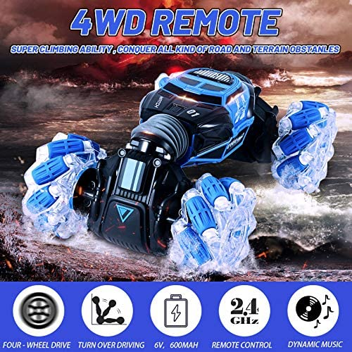 61sM3riifkL. AC  - Remote Control Car , RC Cars 4WD Double Sided Driving, 2.4GHz Gesture Sensing RC Trucks, Remote Control Crawler, Climbing, Flipping, Spinning, Drifting, Christmas Gift Package for Kids and Adults
