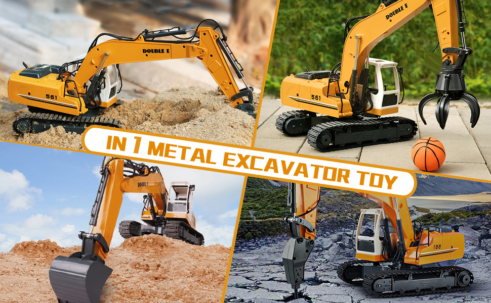 d0143c42 a8b6 4445 8b6e abee91f225d2.  CR0,0,970,600 PT0 SX970 V1    - DOUBLE E Remote Control Truck RC Excavator Toy 17 Channel 3 in 1 Claw Drill Metal Shovel Real Hydraulic Electric RC Construction Vehicle with Working Lights (Yellow)