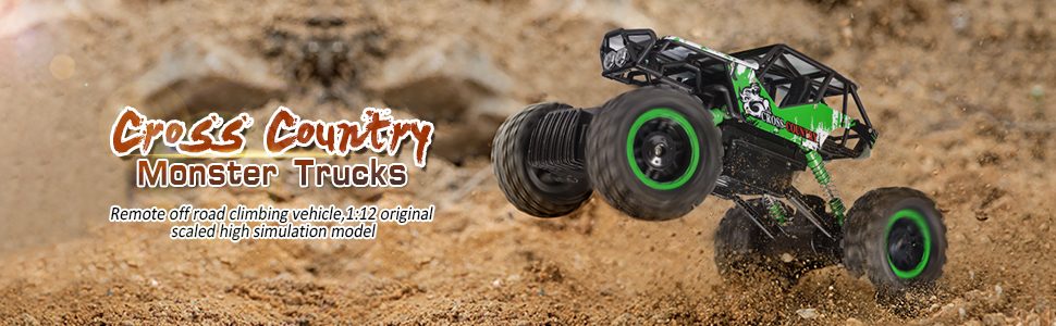 1565b2c7 4b60 44f6 a9a3 6af9f6169570.  CR0,0,970,300 PT0 SX970 V1    - DOUBLE E RC Car 1:12 Remote Control Car Monster Trucks with Head Lights 4WD Off All Terrain RC Car Rechargeable Vehicles