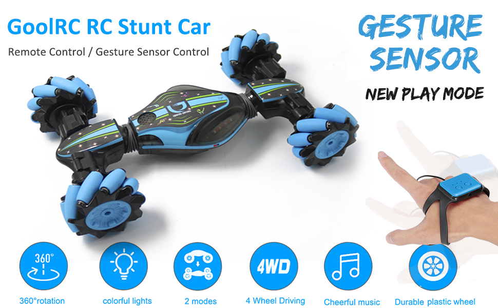 2264fdec 6c83 4593 9af5 c1ab032d4ff2.  CR0,0,970,600 PT0 SX970 V1    - GoolRC RC Stunt Car, 4WD 2.4GHz Remote Control Car, Deformable All-Terrain Off Road Car, 360 Degree Flips Double Sided Rotating Race Car with Gesture Sensor Watch Lights Music for Kids (Blue)