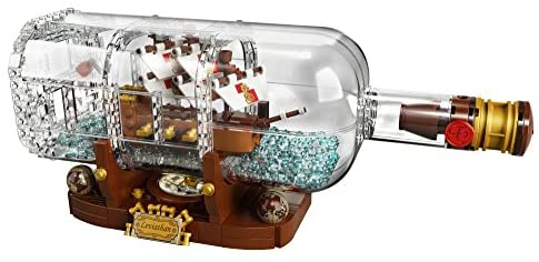 419EXc9Ve7L. AC  - LEGO Ideas Ship in a Bottle 92177 Expert Building Kit, Snap Together Model Ship, Collectible Display Set and Toy for Adults (962 Pieces)