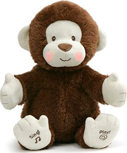 """41DJ3FUw++L. AC  - Baby GUND Animated Clappy Monkey Singing and Clapping Plush Stuffed Animal, Brown, 12"""""""