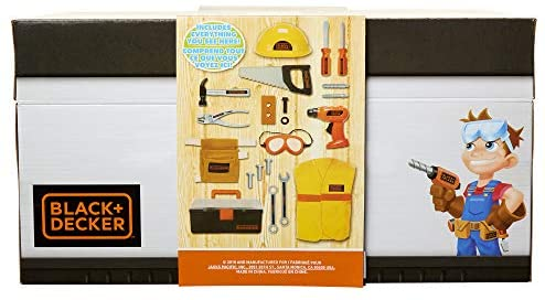 41Dg42tiswL. AC  - BLACK+DECKER Construction Dress Up Trunk for Kids with Fabric Role Play Costume Accessories, Realistic Toy Tools & Portable Kid-Sized Tool Box – 22 Piece Included (Amazon Exclusive)
